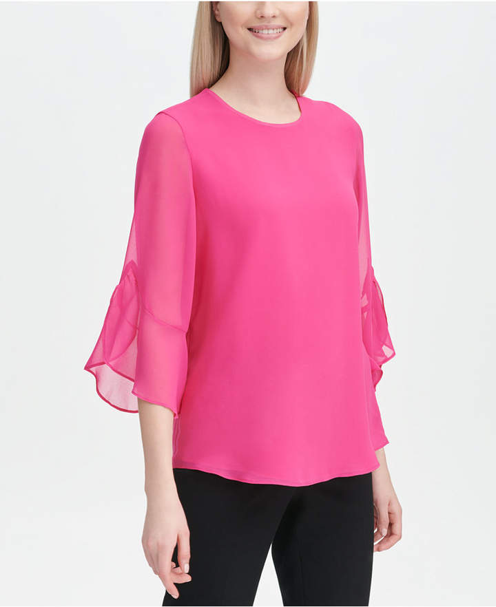 Calvin Klein Ruffled Sleeve Blouse Ruffle Sleeve Blouse Dresses With Leggings Sleeve Blouse