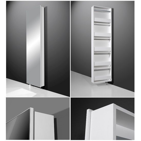 Igma Mirrored Rotating Shoe Storage Cabinet In White Finish Mirror And Features O