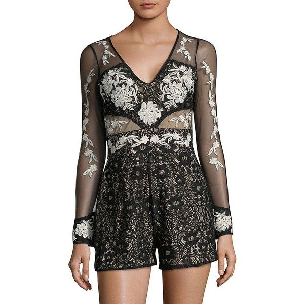 7f675a51cdb8 Design Lab Lord  amp  Taylor Women s Floral Mesh Romper ( 26) ❤ liked on