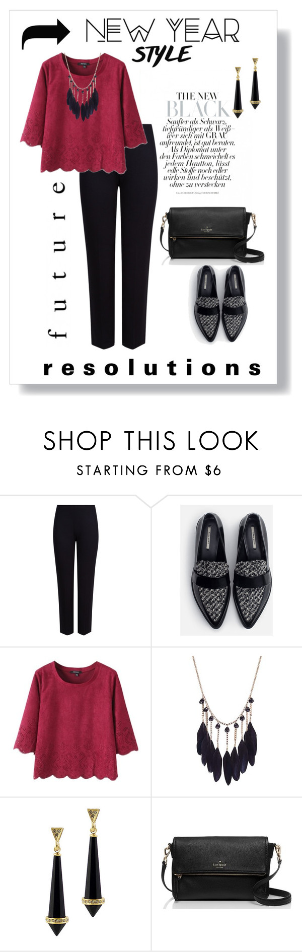 """New Year Style Resolution"" by krskinner ❤ liked on Polyvore featuring M&S Collection, Zara, House of Harlow 1960, Kate Spade and styleresolution"