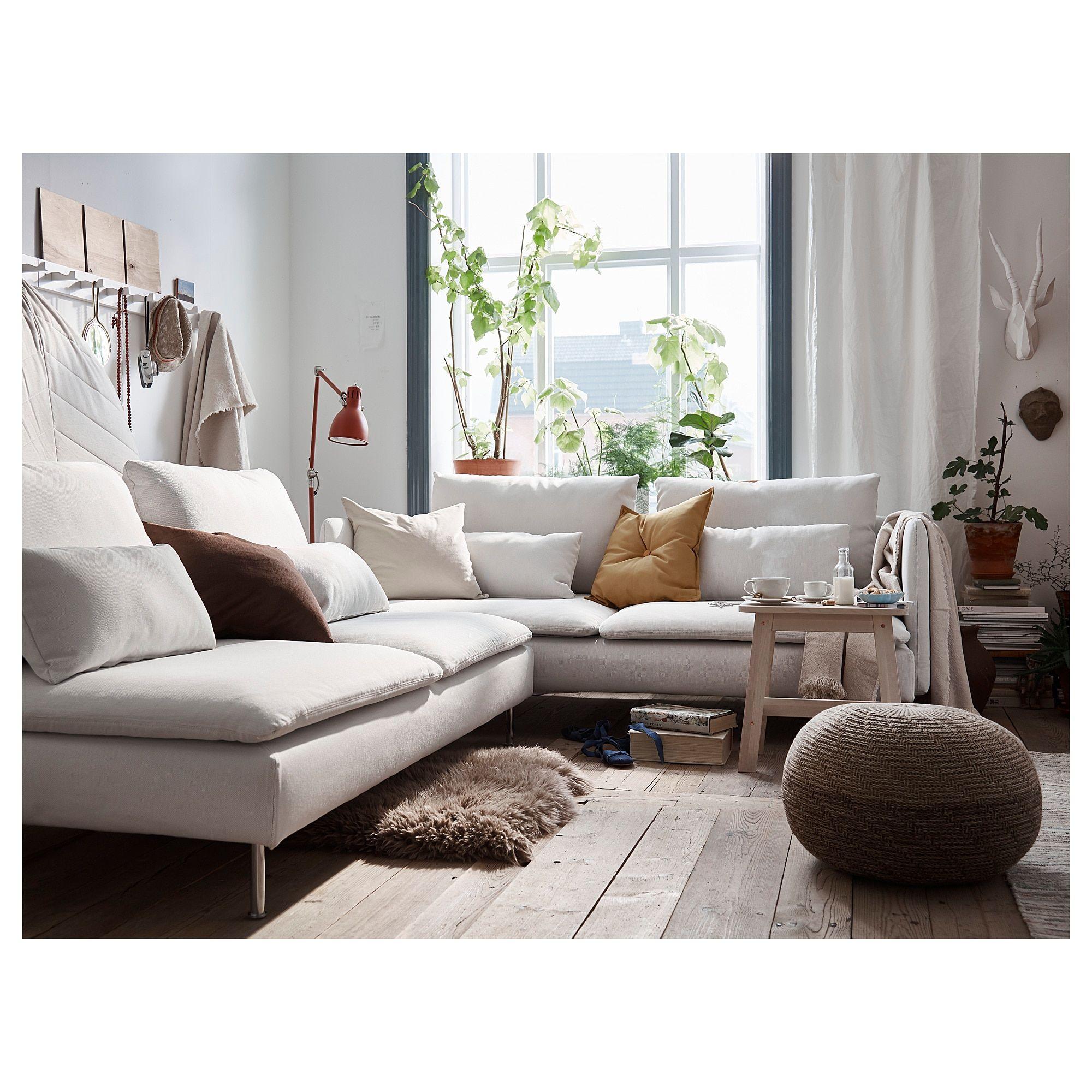 Sandared Pouffe Beige Ikea Mid Century Living Room