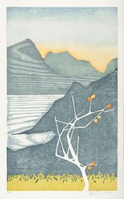 Laura Boswell. Persimmons and Rice, Japan. Medium: Japanese waterbased woodblock. 230x380