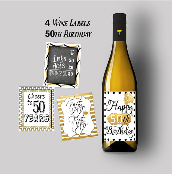 50th Birthday Party Wine Labels Happy Instant Printable