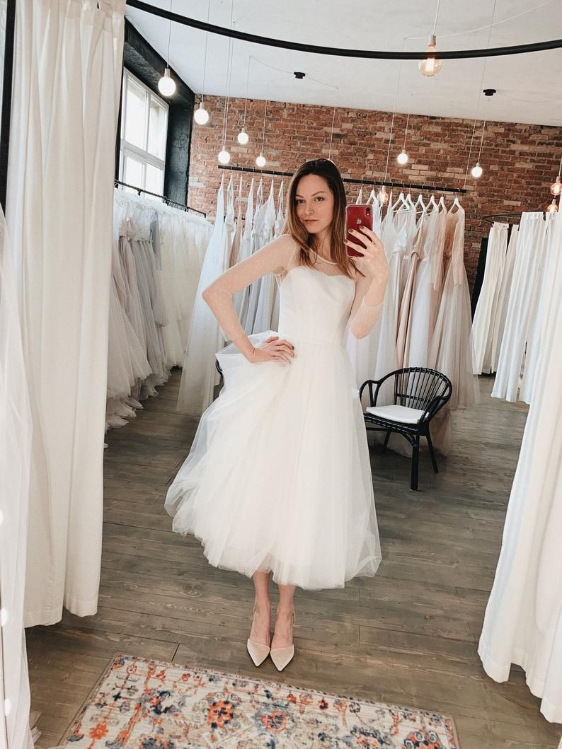 Tea Length Wedding Dress 60s Wedding Dress Simple Wedding Dress Civil Wedding Dress A Line Tulle Dress Mila Online Wedding Dress Wedding Dresses 60s Etsy Wedding Dress [ 1059 x 794 Pixel ]
