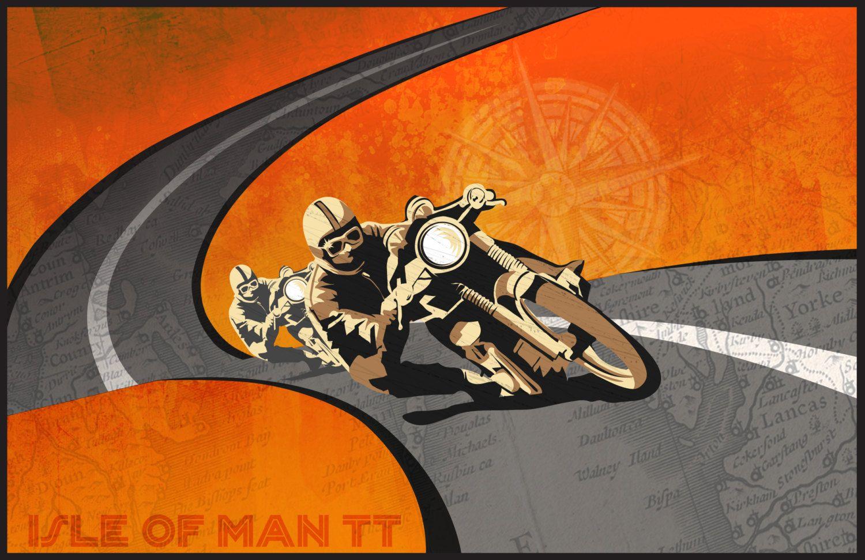 Retro Vintage Motorbike Race Illustration Poster 11x17 Vintage Motorcycle Posters Motorcycle Artwork Motorcycle Illustration