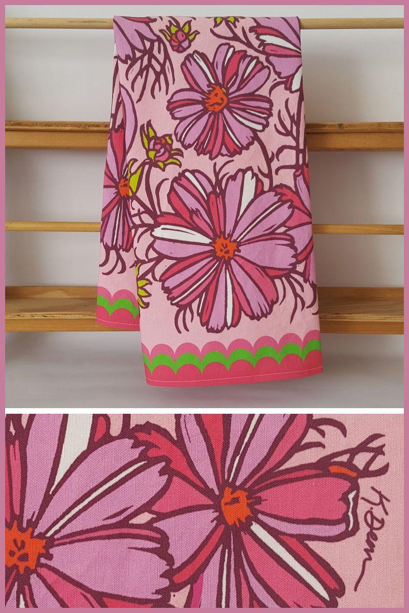 Pink Cosmos Vintage Tea Towel Kitchen Gift Vintage Flowers Etsy Vintage Tea Towels Decorative Kitchen Towels Decorative Hand Towels