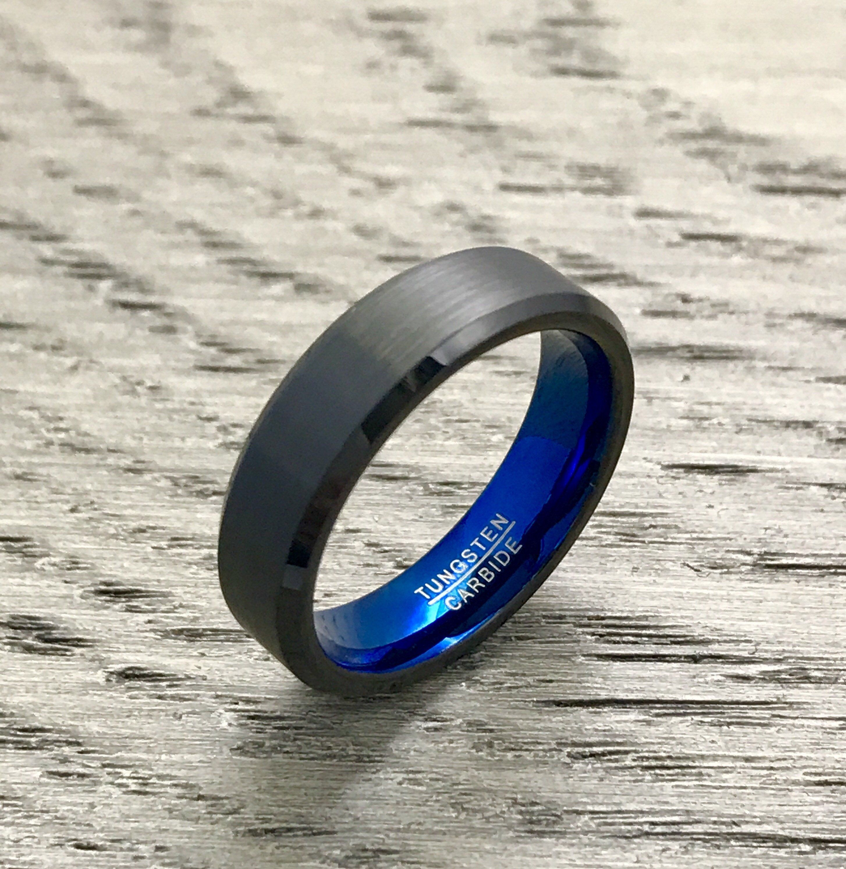 6mm Brushed Black and Blue Tungsten Wedding Band with