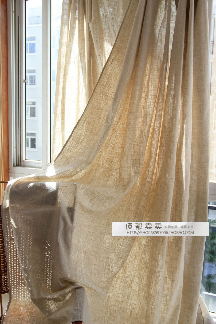 Linen Fabric Curtains Floor Balcony Raw Jute Brief Modern