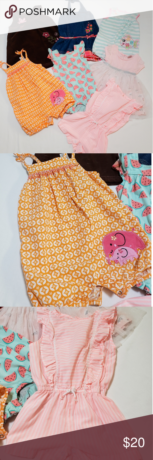Baby Girl Outfits Size 0-3 to 12 Months. Super cute baby girl dresses and rupers😊 Some are barely used and some has some small stain in the chest part, they can be removed. Brands are Carter's, Jumping bean, Cata & Jack and youngland baby. Carter's Dresses Casual