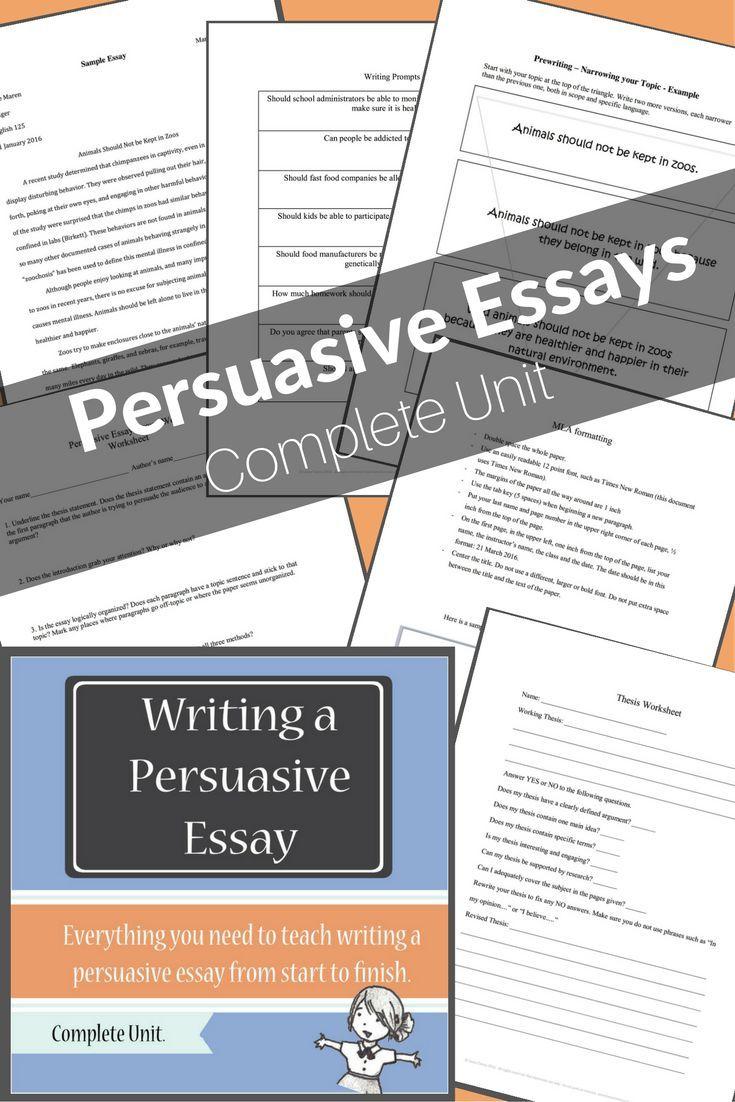 Persuasive Essay Complete Unit Writing A Persuasive Essay