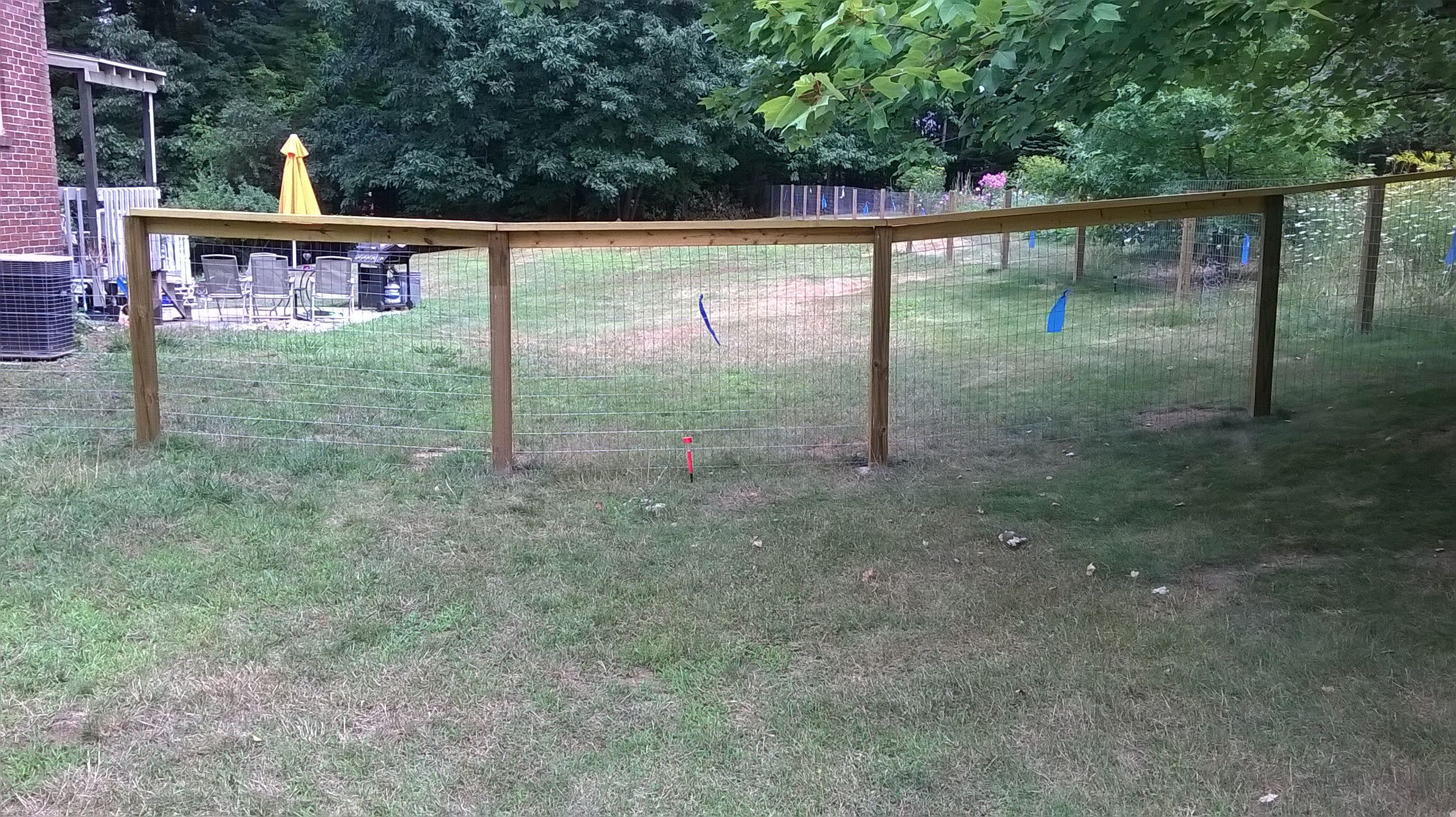 Wood welded wire fence the beginning. Blue flags to keep the deer ...