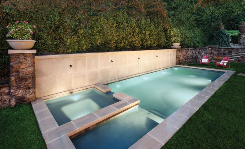 rectangle pool with slide google search - Rectangle Pool With Spa