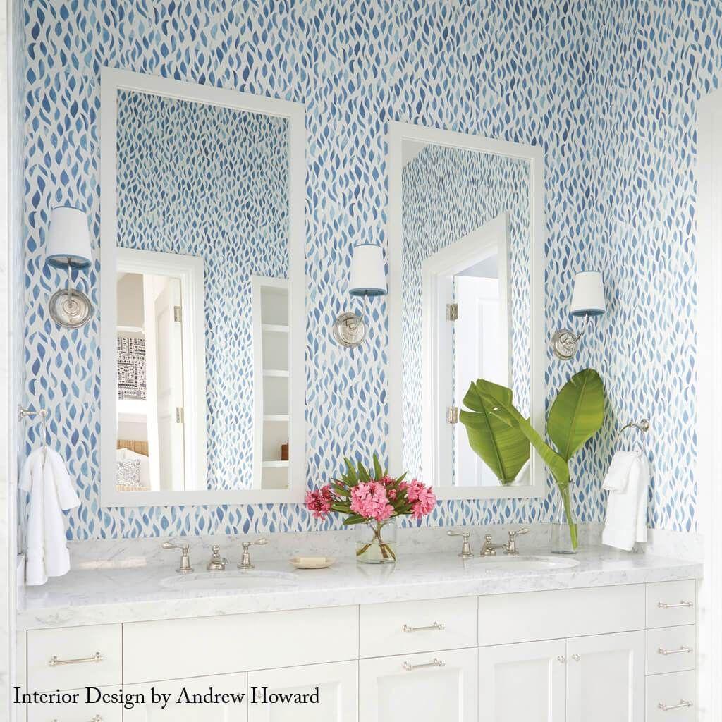 Petals Wallpaper in Ocean Blue