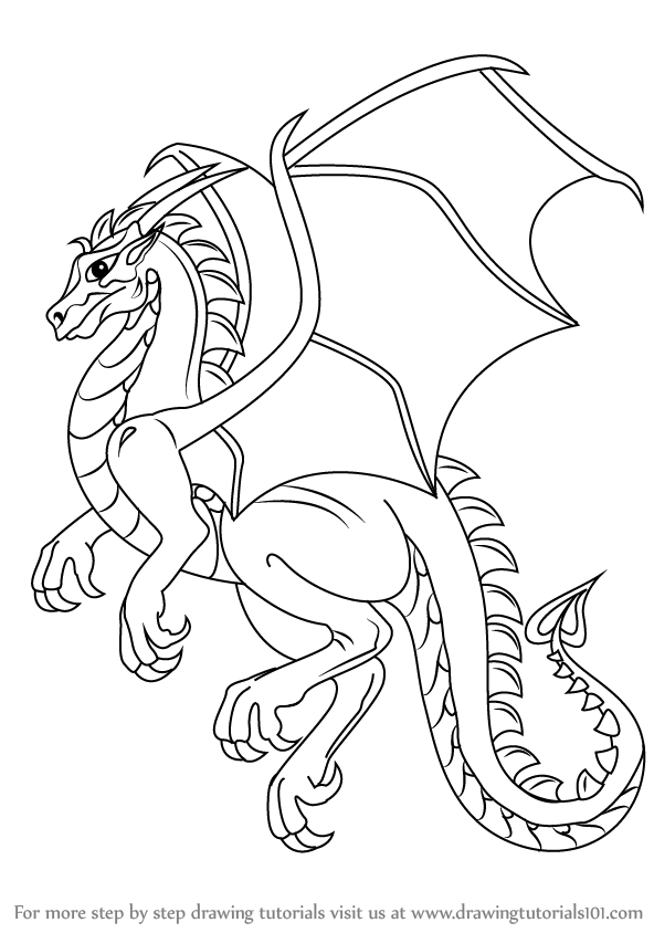 Line Art Step By Step : Learn how to draw a dragon dragons step by