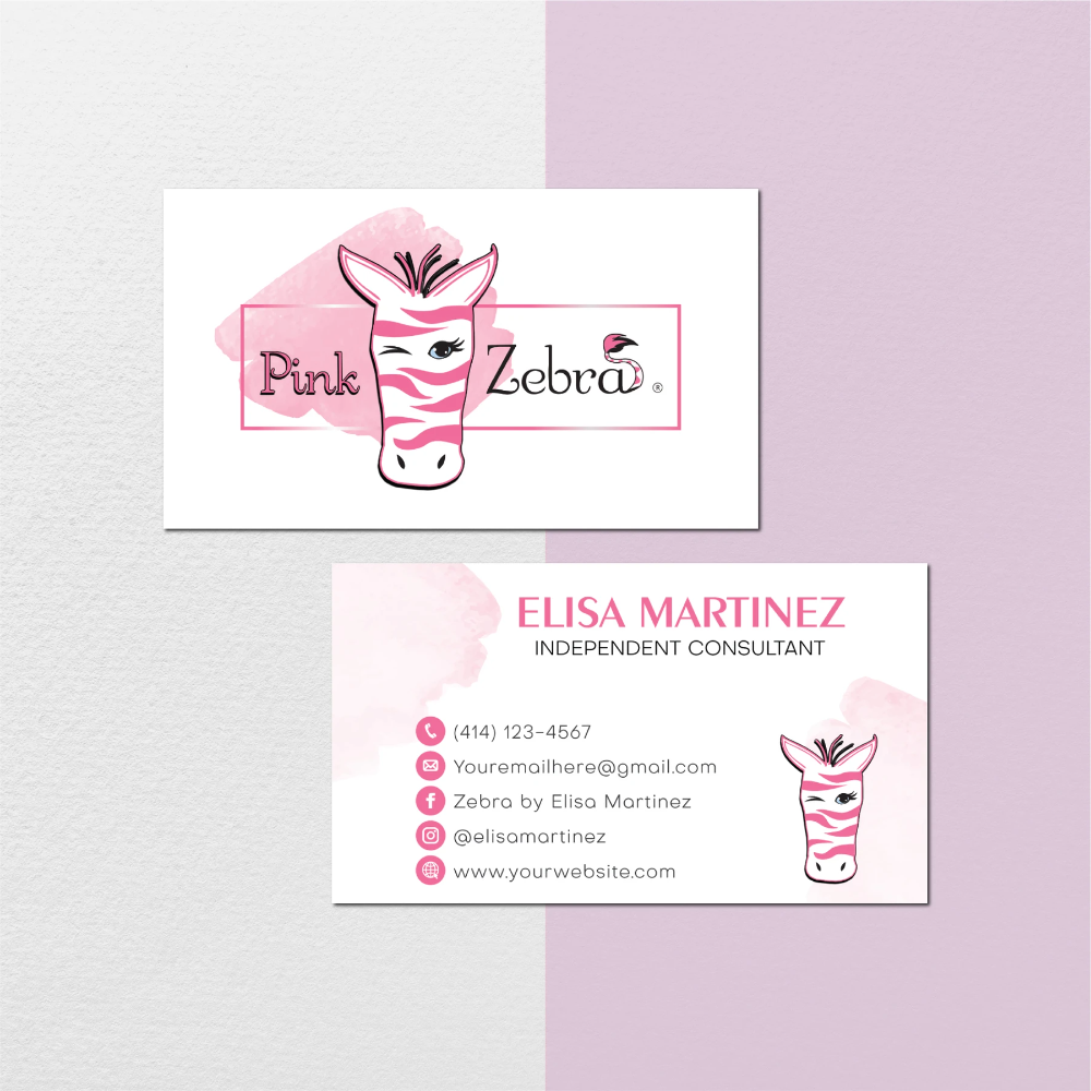 Pink Zebra Business Cards Watercolor Personalized Pink Zebra Template Pz03 Pink Zebra Business Cards Watercolor Pink Zebra Recipes