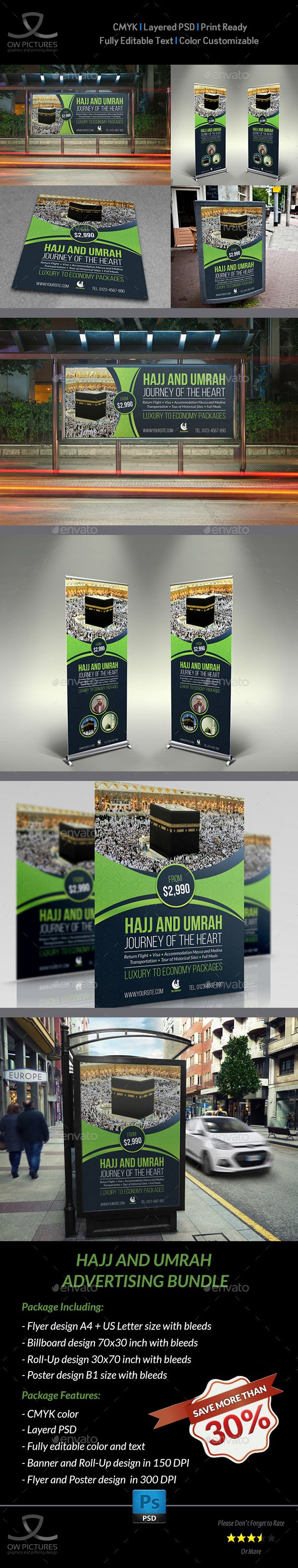 Umrah Banner: Hajj And Umrah Advertising Bundle - Template PSD