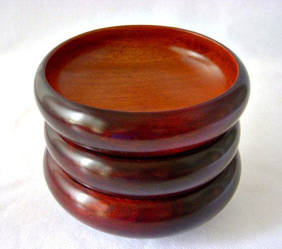 Vintage Solid Mahogany Bowls Hand Made Haiti Wood by GSaleHunter, $24.00