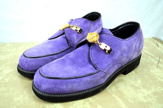 Vintage 90s Hush Puppies Purple Suede Loafers By Rogueretro Purple Suede Loafers Men Oxford Shoes