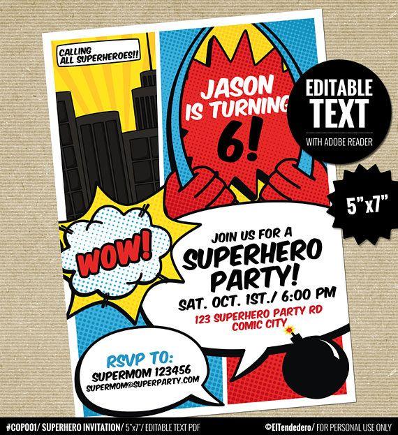 superhero invitation template printable superheroes comic book