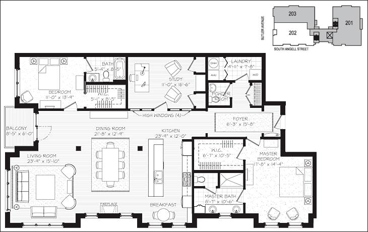 77 South Angell Residence 202 Condo Floor Plans Condominium Plan Luxury Floor Plans