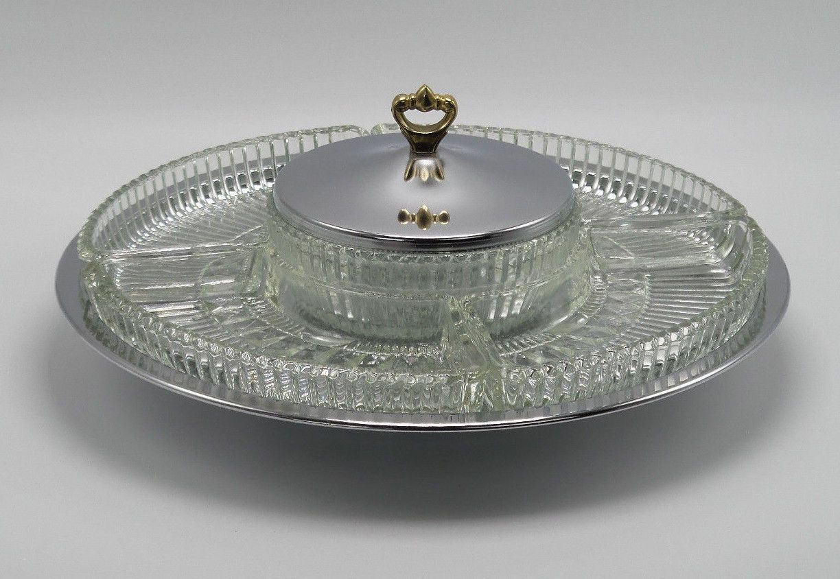 Vintage Kromex Lazy Susan Rotating Appetizer Relish Tray Server .