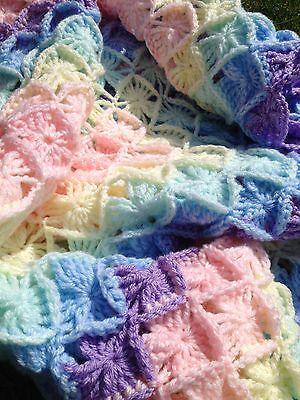 Bavarian Crochet Pastel Rainbow Baby Blanket Afghan Wool
