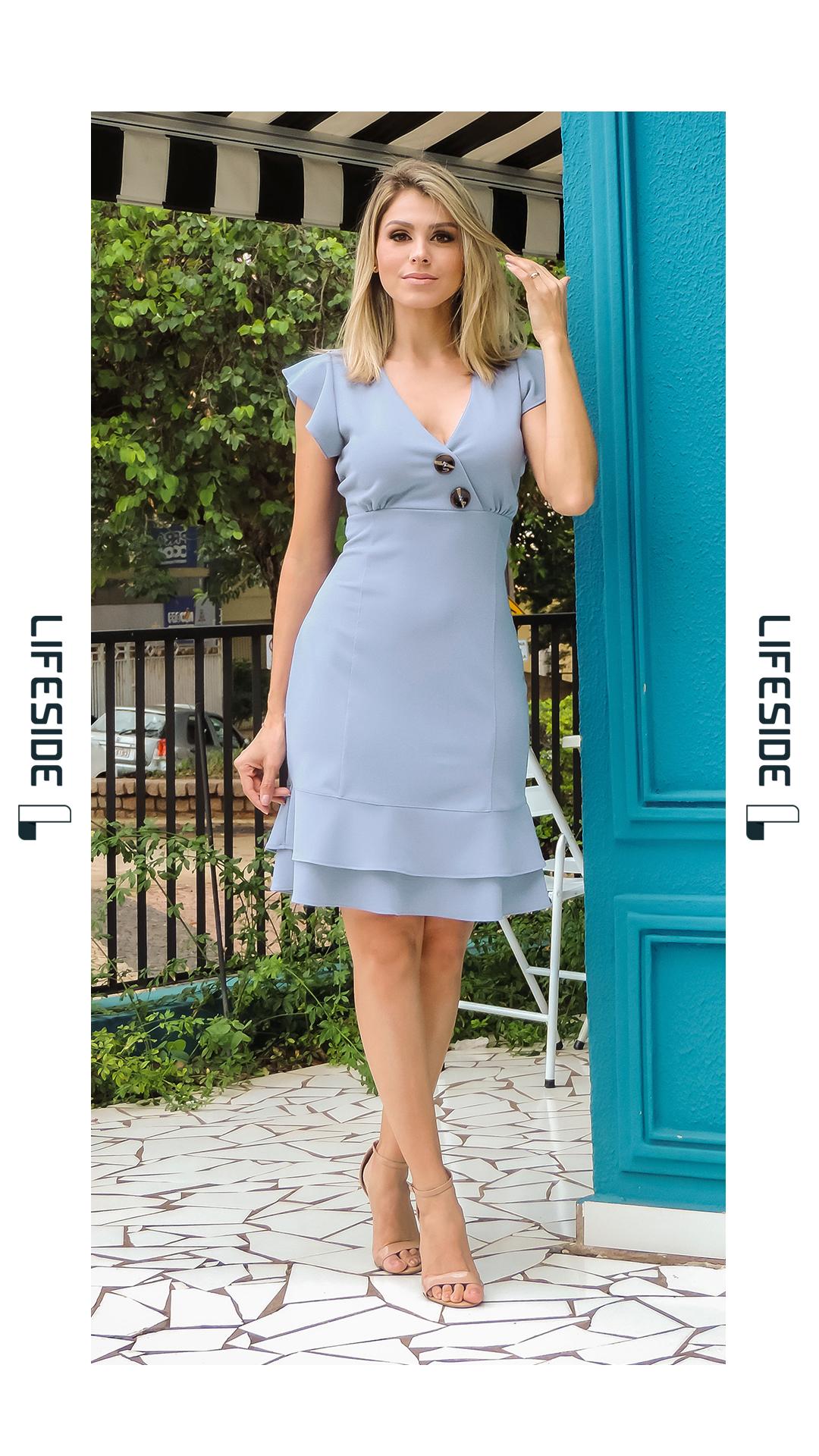 Lifeside Moda Feminina Primavera Verão 2019 Vestido Azul