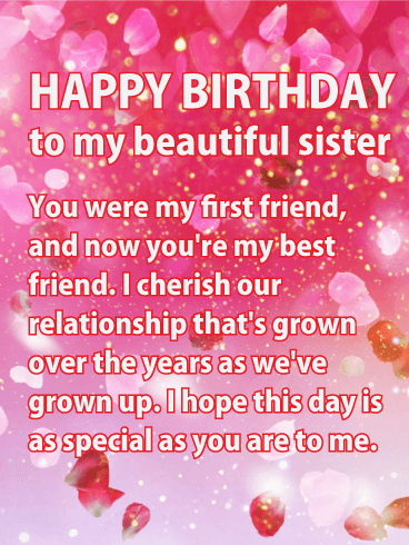 Shining Pink Happy Birthday Wishes Card For Sister Tell Your Shes The Spot In Life With This Filled Glitter And