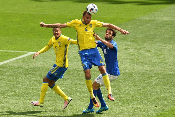 Andreas Granqvist of Sweden wins a header during the UEFA EURO 2016 Group E match between Italy and Sweden at Stadium Municipal on June 17, 2016 in Toulouse, France.