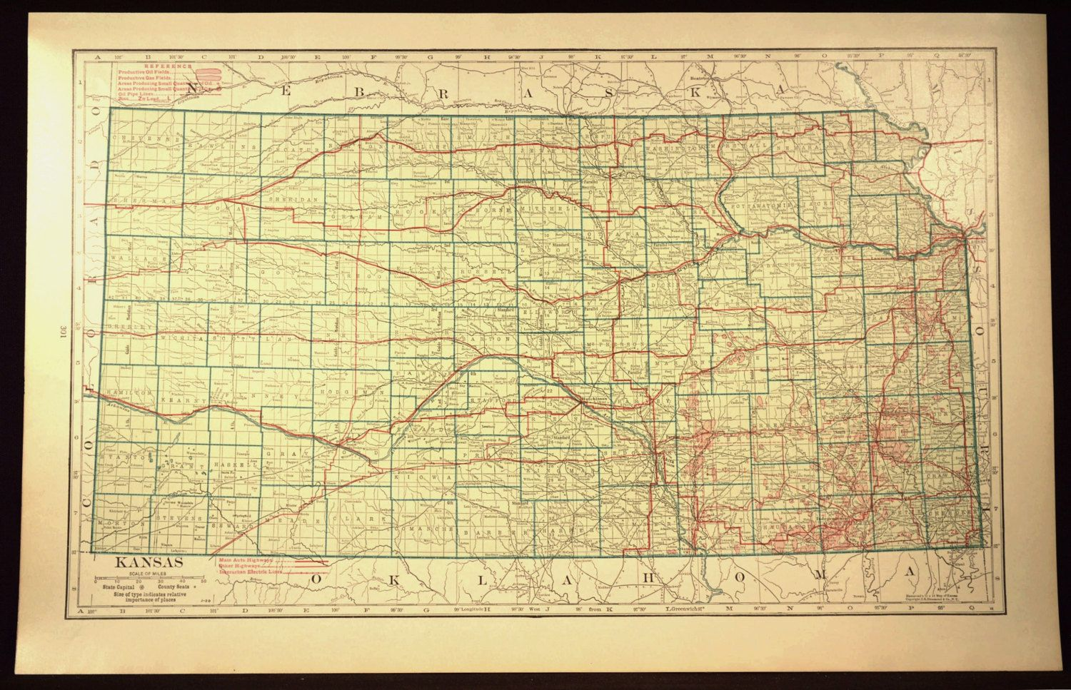 Kansas Map LARGE Kansas Road Map Highway Wall Art Decor Green | Map ...