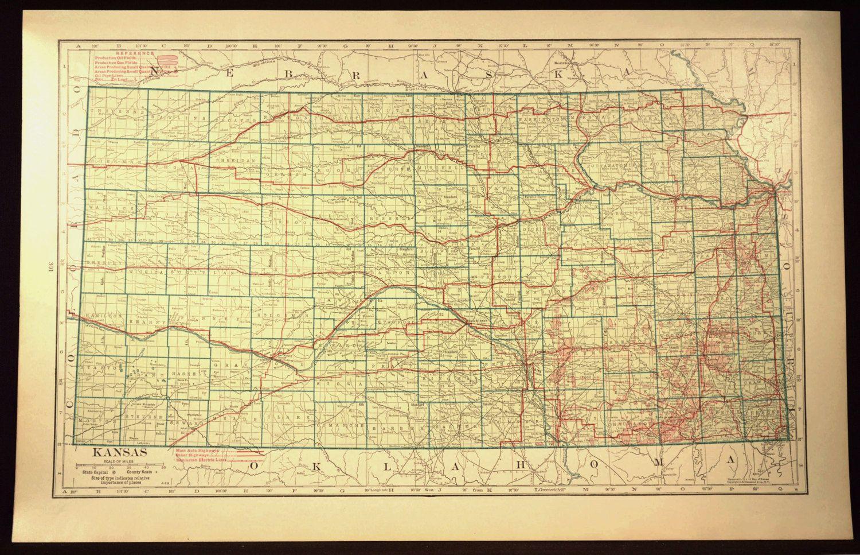 Kansas Map LARGE Kansas Road Map Highway Wall Art Decor Green - Kansas road map