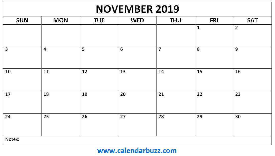 November 2019 Calendar Monthly Printable Calendar Word Monthly Template Calendar Template