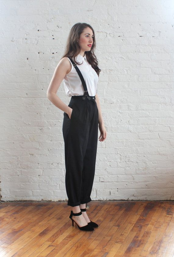 e8b10215c 90s high waist suspender pants   pinstripe by brownbagvintage