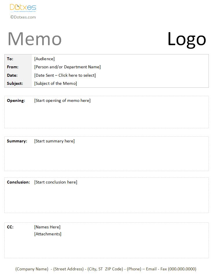 formal memo template