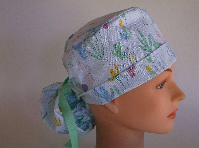 Desert Cactus Ponytail - Womens lined surgical cap 17cb985454af