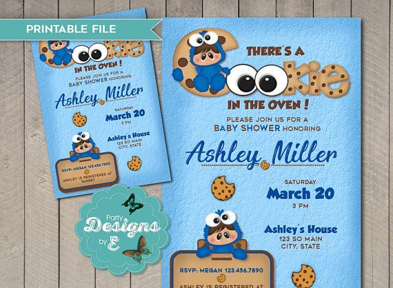 Cookie Monster Baby Shower Invitation There Is A Cookie In The