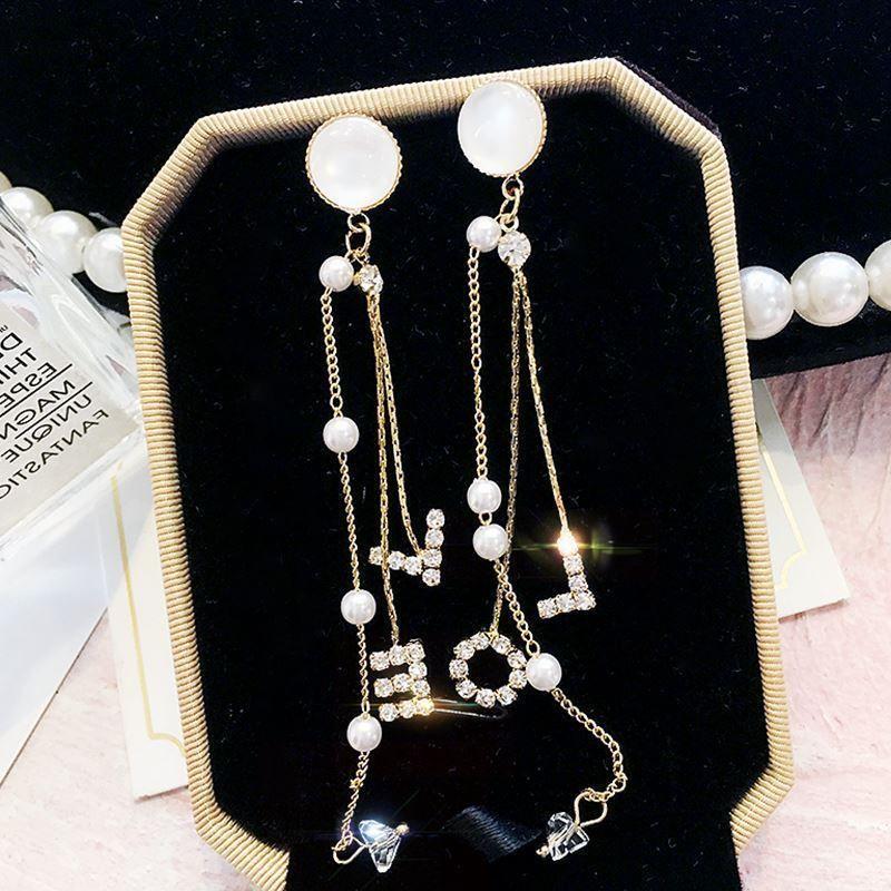 Pearls Tassel Long Earrings Bridal Liner Earringsstyle1