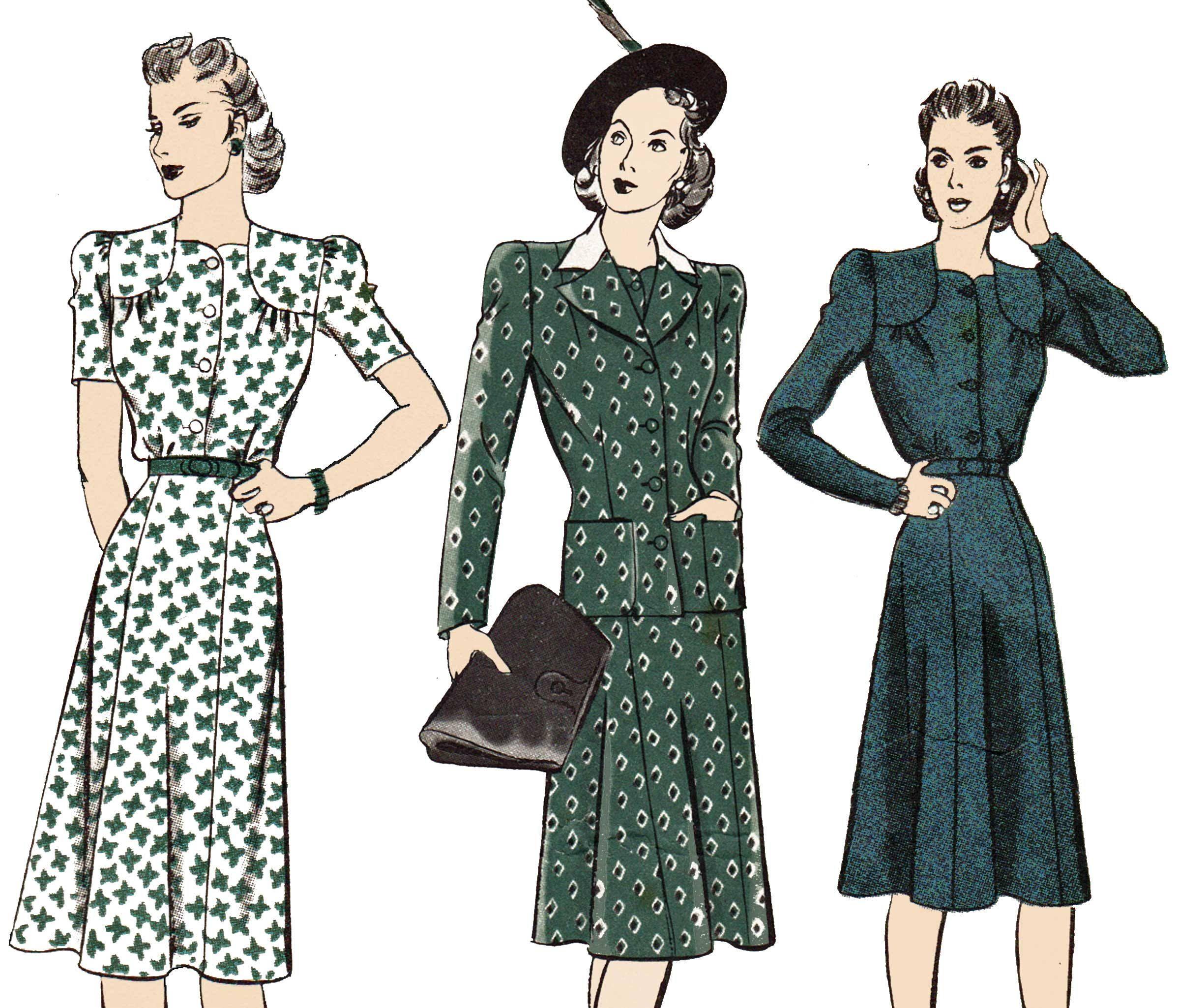 1940s Dress Pattern Shoulder Yoke Dress and Jacket Vintage 40s ...