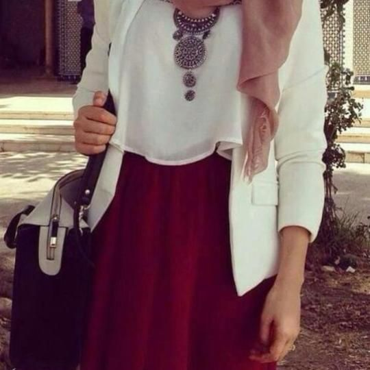 red maci skirt white shirt blazer bag hijabi hijab outfit