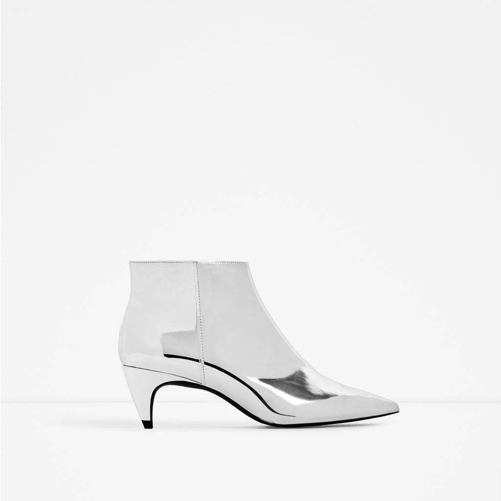 100% autentico b4b11 9a341 Image 2 of LAMINATED MID HEEL ANKLE BOOTS from Zara | METAL ...