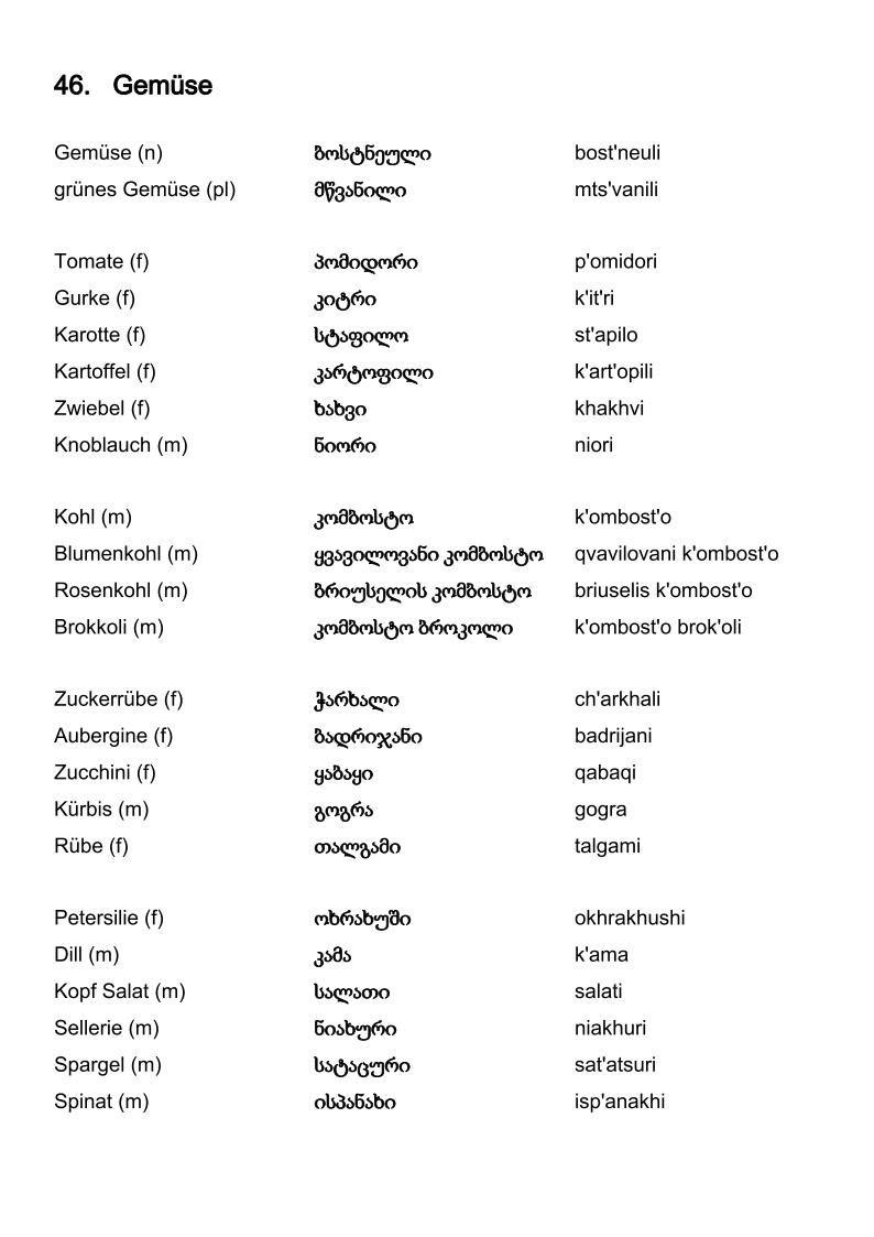 Wortschatz Deutsch Georgisch Gemuse Vocabulary Albanian Language How To Memorize Things