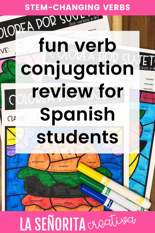 Stem Changing Verbs Spanish Activities Present Tense Verbs Color Activities Verb Conjugations [ 1500 x 1000 Pixel ]