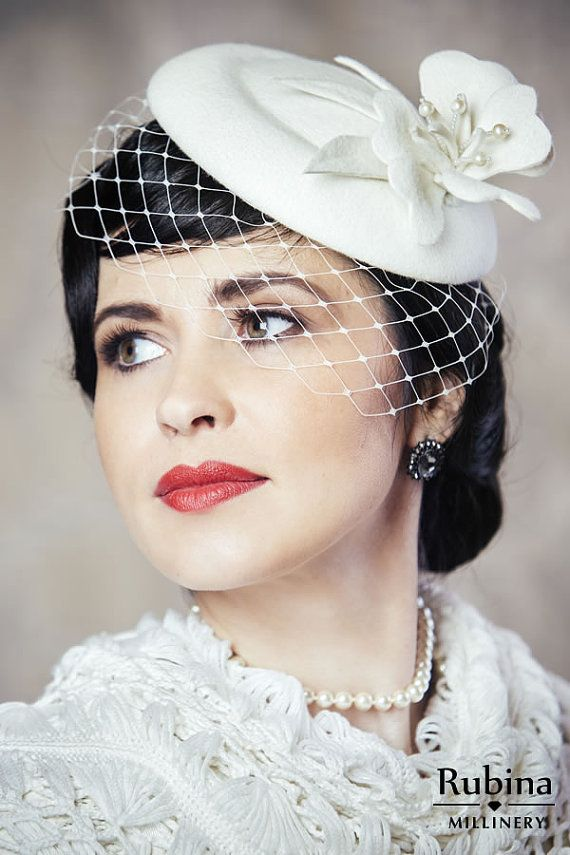c33f8c06 Ivory Pillbox Hat with Birdcage Veil - 50s wedding hat - Derby Hat ...