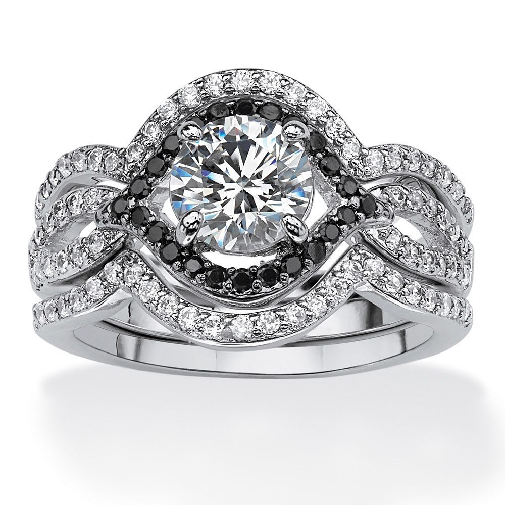 Platinum over Sterling Silver Cubic Zirconia Halo Bridal