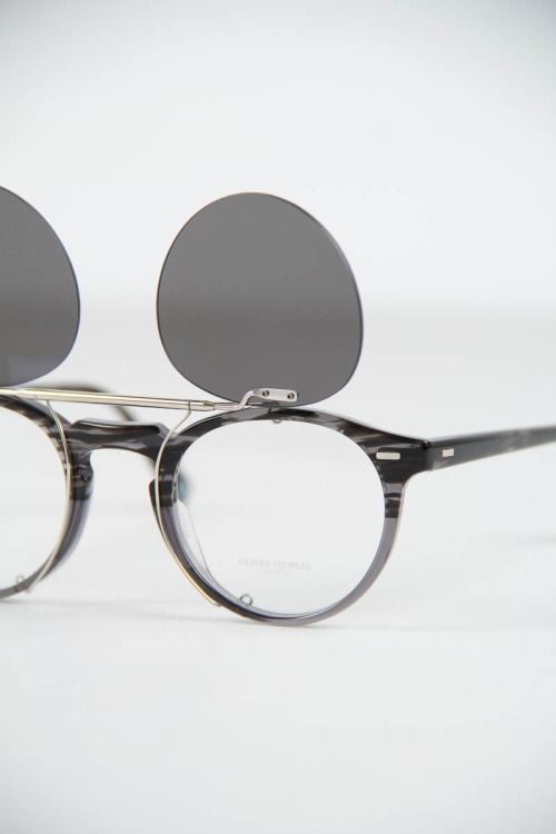 c4d9ae10cba37a Oliver Peoples Striped Grey Gregory Peck Optical Frame with Silver Gregory  Peck Flip–Up Clip–On.