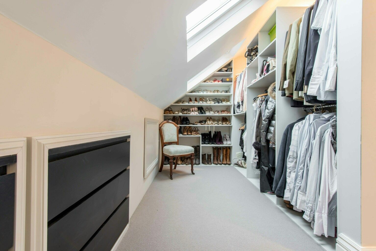 Attic dressing room storage #loftconversions