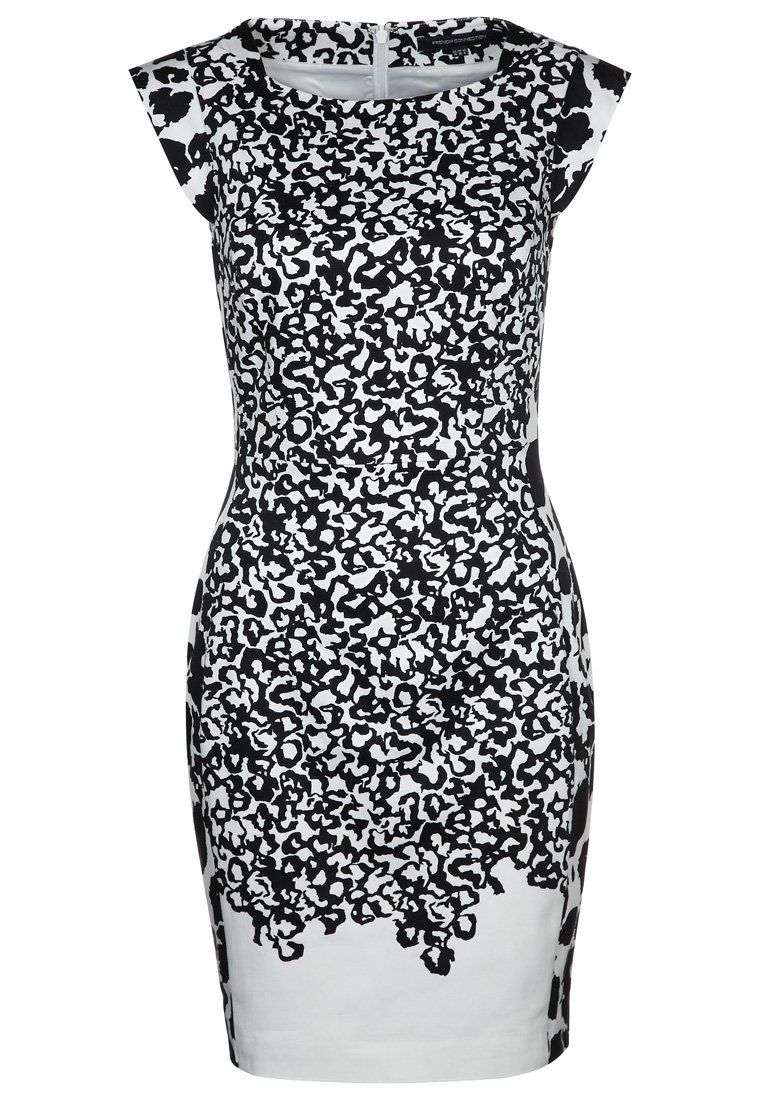 Zalando Avondjurken.Patterned Black And White Cocktail Dress By French Connection