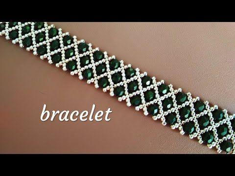 Beaded bracelet-tutorial. Браслет из бисера и бусин. Мастер-класс - YouTube #beads