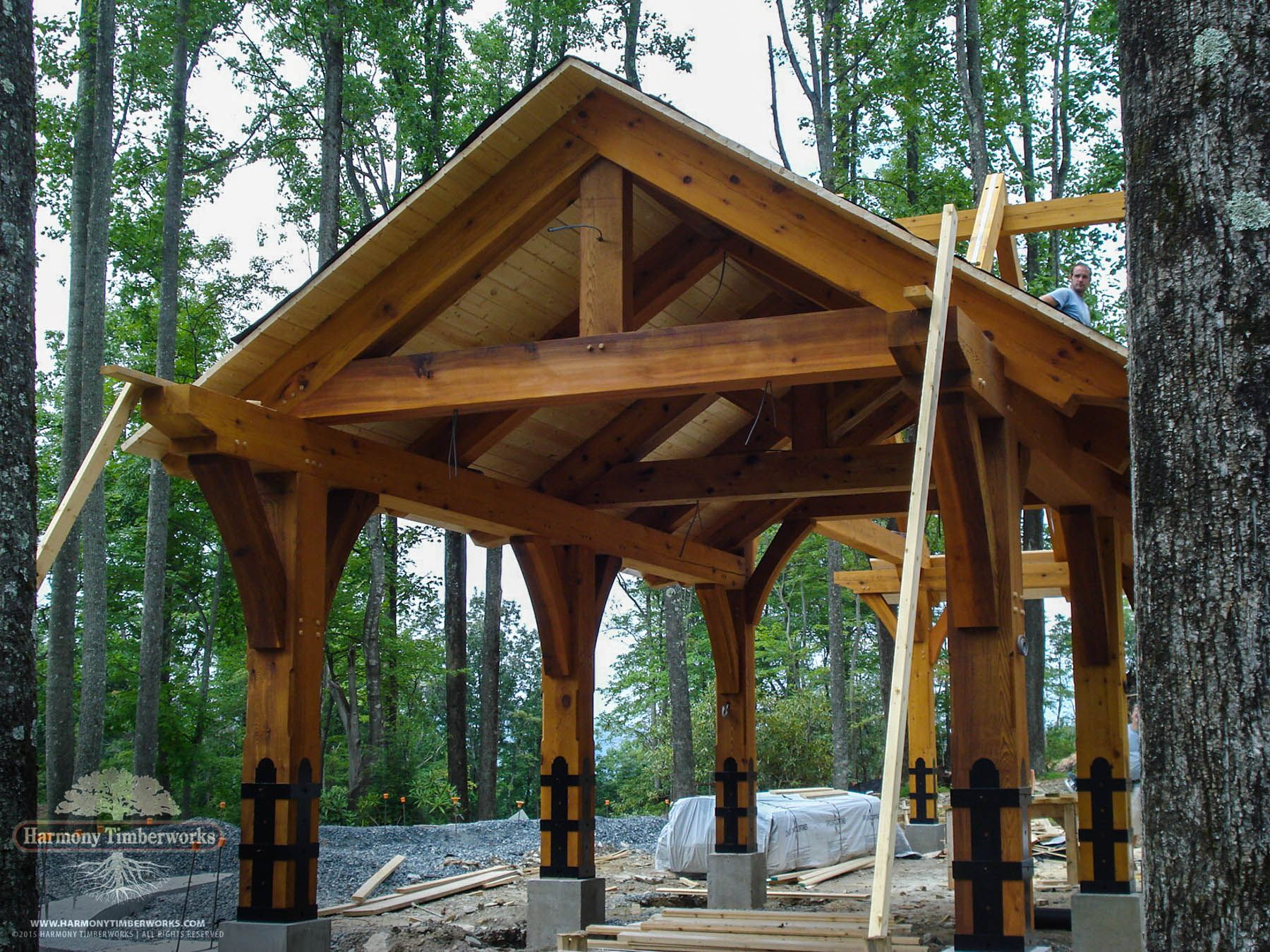 Kingpost Truss Open Timber Frame Pavilion For The Home