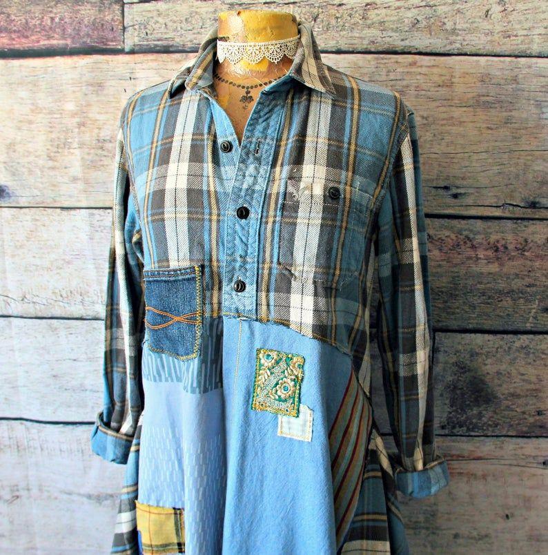 Boho chic plaid shirt with lace handkerchief hemline